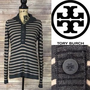 Tory Burch Striped Collared Sweater